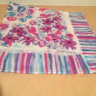 ジョルジュレッシュ(GEORGES RECH)の新品 ハンカチ  紫 花柄 スカーフ ミッツァ  ツイリー  カゴバッグ ピンク(ハンカチ)