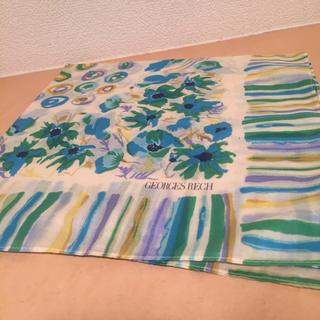 ジョルジュレッシュ(GEORGES RECH)の新品 緑 花柄 ハンカチ  スカーフ ミッツァ  ツイリー  カゴバッグ(ハンカチ)