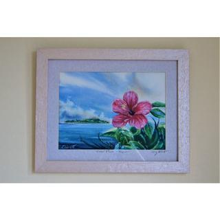 Sa5te5様専用  絵画【マニャガハ島とハイビスカス  Saipan】(絵画/タペストリー)