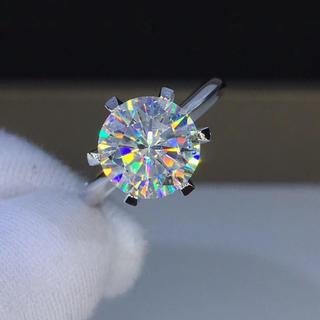 【3カラット】輝く モアサナイト  ダイヤ リング K18WG(リング(指輪))