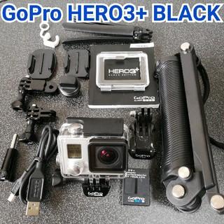 ゴープロ(GoPro)の【美品セット】GoPro Hero3+ BLACK✨予備バッテリー付(ビデオカメラ)