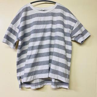 スタディオクリップ(STUDIO CLIP)のスタディオクリップ ホワイト グレー ボーダー Tシャツ Mサイズ(Tシャツ(半袖/袖なし))