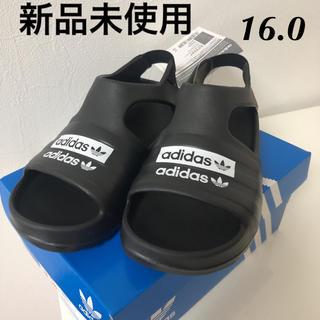 アディダス(adidas)の新品 アディダス  アディレッタ キッズ プレイ サンダル 16.0 ブラック(サンダル)