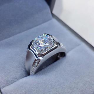 【3.0カラット 】輝く モアサナイト  ダイヤ メンズ リング K18WG(リング(指輪))