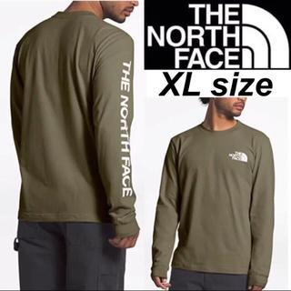 THE NORTH FACE - ノースフェイス 袖ロゴ ロンT 長袖 Tシャツ オリーヴ ロングスリーブ XL