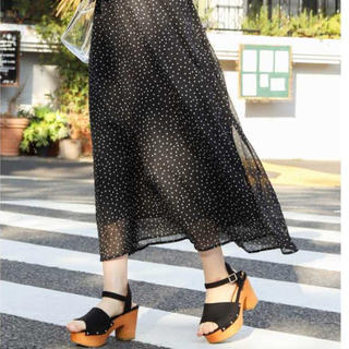 WEGO - 【新品】WEGO シアーパターンロングスカート ドット ブラック スカート
