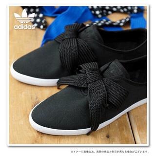 アディダス(adidas)の新品タグ付き アディダス リレースロー リボン スニーカー フラットシューズ 黒(スニーカー)