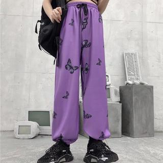 蝶 バタフライ ルーズ パンツ 紫