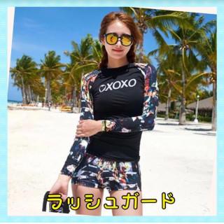 【日焼け対策】カッコイイデザインのラッシュガード☆体型カバー☆長袖2点セット