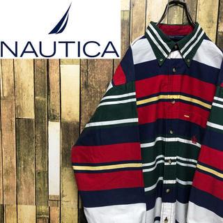 ノーティカ(NAUTICA)の【ノーティカ】ポケット刺繍ロゴ入り☆マルチボーダーシャツ 90s(シャツ)