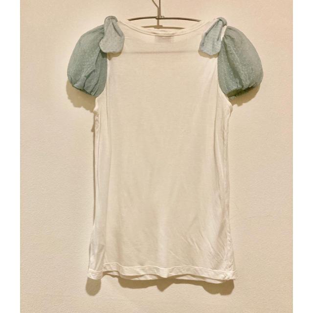 RED VALENTINO(レッドヴァレンティノ)のRED VALENTINO チュールパフスリーブTシャツ レディースのトップス(Tシャツ(半袖/袖なし))の商品写真