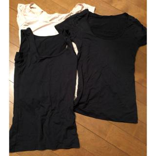 ジーユー(GU)の汗取りインナー 半袖2枚 タンクトップ1枚 夏肌着(アンダーシャツ/防寒インナー)