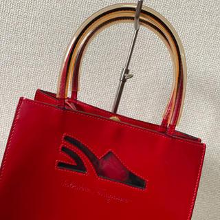 Salvatore Ferragamo - 美品 サルヴァトーレフェラガモ  ポーチ付 ハンドバッグ パテント 赤