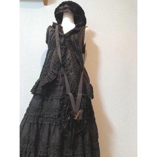 カネコイサオ(KANEKO ISAO)のワンダフルワールド(カネコイサオ)黒フリルロングスカート&バッグ(ロングスカート)
