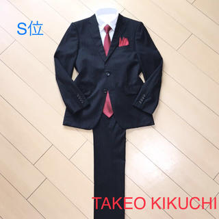 タケオキクチ(TAKEO KIKUCHI)の美品★タケオキクチ×ブラックストライプスーツ/ウール主生地/春夏 /A644(セットアップ)