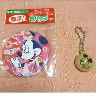 ディズニー(Disney)のミニーマウス缶バッジ&パックンチョおまけセット(ノベルティグッズ)