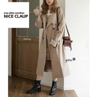 one after another NICE CLAUP - 新品タグ付き♡ナイスクラップ 定番 トレンチコート ベージュ Lサイズ