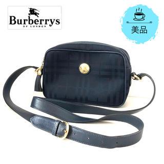 BURBERRY - 【美品】バーバリーズ チェックショルダーバッグ ネイビー×ゴールド