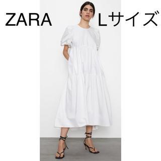 ザラ(ZARA)のZARA  フレアーワンピース Lサイズ(ロングワンピース/マキシワンピース)