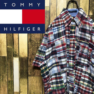 TOMMY HILFIGER - 【トミーヒルフィガー】フラッグ刺繍ロゴチェック柄☆半袖パッチワークシャツ