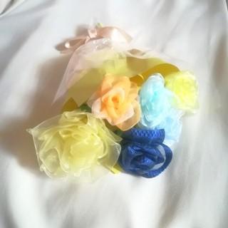 送料無料☆リボンフラワーの花束 父の日 オーガンジー薔薇ミックス[mini] (その他)