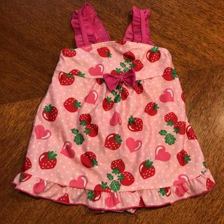 ニシマツヤ(西松屋)の水着 女の子 ワンピース 80 ピンク いちご柄 ハート柄 1歳 リボン(水着)