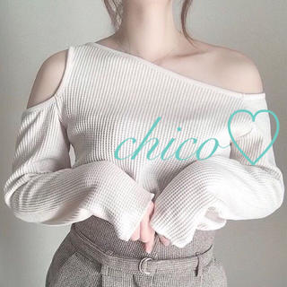 who's who Chico - 今季♡チコ♡ワンショルスリットワッフルトップス