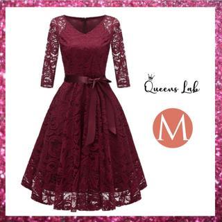 ドレス パーティードレス レディース 結婚式 七分袖 かわいい ワンピース M