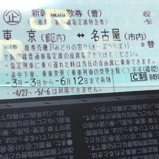 ジェイアール(JR)の東京=名古屋 新幹線指定席回数券 6/12迄有効(鉄道乗車券)