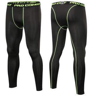 メンズ ランニングタイツ レギンス ストレッチ スパッツ  緑糸 Lサイズ(レギンス/スパッツ)
