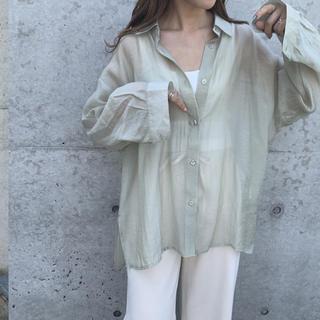BEAUTY&YOUTH UNITED ARROWS - BLATE シンプル上質シアーシャツ ピスタチオ グリーン