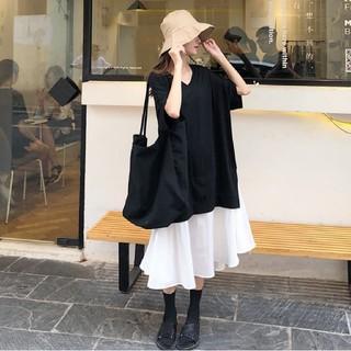 ザラ(ZARA)の半袖のTシャツ ロング丈スカート 切り替えワンピース ゆったりサイズ 即日発送(ロングワンピース/マキシワンピース)