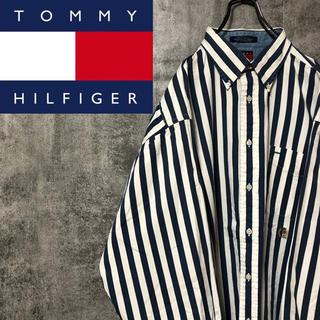 TOMMY HILFIGER - 【激レア】トミーヒルフィガー☆オールド刺繍ロゴ入りストライプシャツ 90s