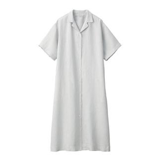 MUJI (無印良品) - 新品 無印良品  フレンチリネン洗いざらし五分袖開襟ワンピース