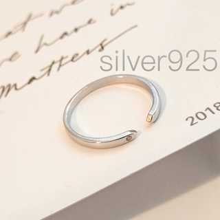 オープンリング silver925 czダイヤ 指輪 フリーサイズ レディース(リング(指輪))