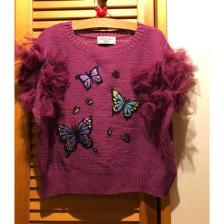 アナスイミニ(ANNA SUI mini)のアナスイミニ 蝶々 刺繍 トップス 美品(ニット)