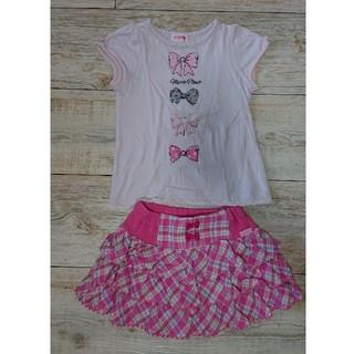 mezzo piano - メゾピアノ110パンツ付きスカート半袖Tシャツセット