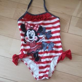 ディズニー(Disney)の水着 女の子 ミニーちゃん 100 ワンピース リボン ボーダー(水着)