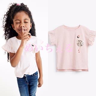 ネクスト(NEXT)の【新品】next ピンク スパンコールフラミンゴポケットTシャツ(オールド)(Tシャツ/カットソー)