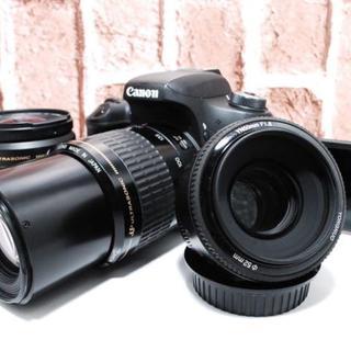 キヤノン(Canon)の★Wi-Fi内蔵★ Canon EOS 8000D 標準&望遠&単焦点トリプル★(デジタル一眼)