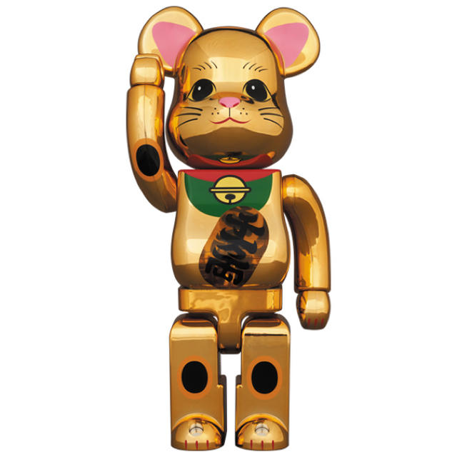 MEDICOM TOY(メディコムトイ)のBE@RBRICK 招き猫 金メッキ 発光 400% エンタメ/ホビーのおもちゃ/ぬいぐるみ(キャラクターグッズ)の商品写真
