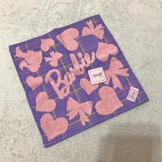 バービー(Barbie)の新品!【Barbie】タオルハンカチ ◾バービー ロゴ刺繍リボン(ハンカチ)