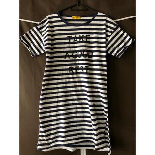 しまむら - Tシャツワンピース ボーダー ロングTシャツ