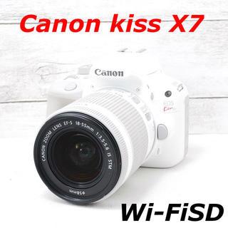 キヤノン(Canon)の❤️人気ホワイト❤️Wi-FiSD付き❤️Canon kiss X7(デジタル一眼)