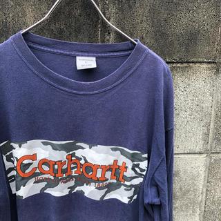 カーハート(carhartt)のカーハート ロゴ 迷彩 ネイビー 長袖Tシャツ 90s Carhartt L(Tシャツ/カットソー(七分/長袖))