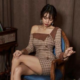 ドレス 長袖 ワンピース キャバ パーティー 韓国(ミニドレス)