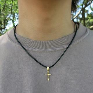 ゴールド クロスネックレス チョーカー 40cm メンズ ネックレス(ネックレス)