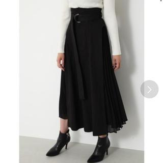 rienda - rienda サイドプリーツ デニムスカート ブラック