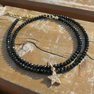 ブラック ダイヤカットビーズ スターネックレス 40cm(ネックレス)