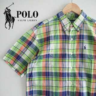 ラルフローレン(Ralph Lauren)の744 ラルフローレン チェック 半袖 BDシャツ ポニー刺繍 グリーン(シャツ)